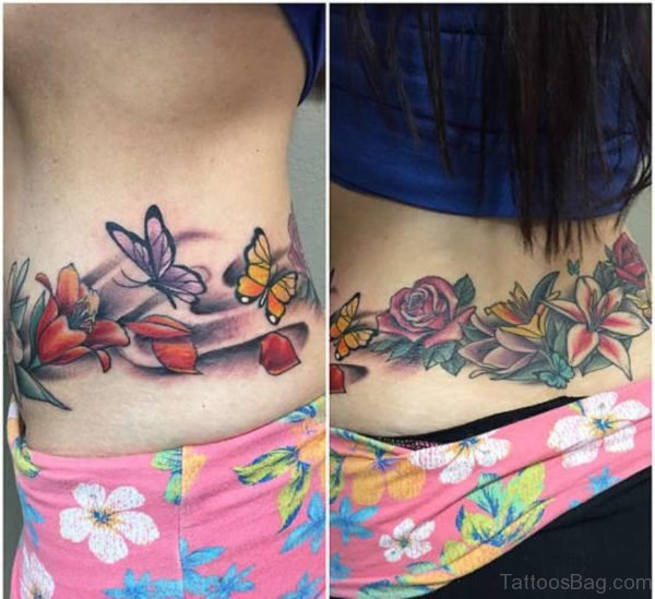 Stunning Flower And Lovely Butterfly Tattoos