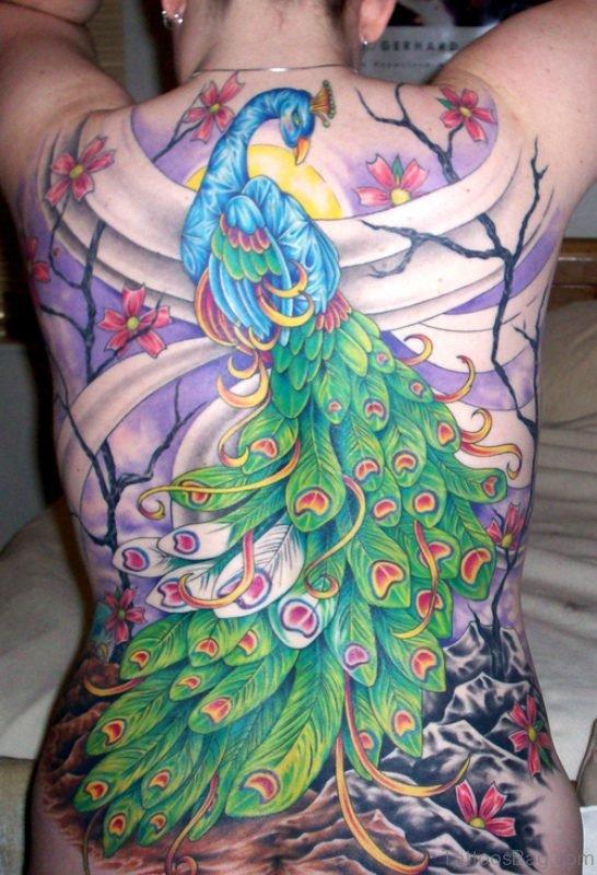 Stunning Full Back Peacock Tattoo