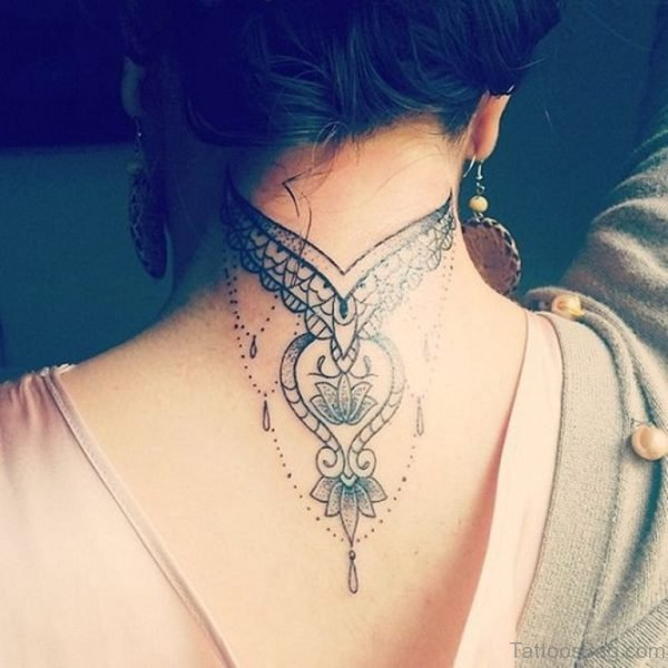 Stunning Mandala Tattoo On Back Neck