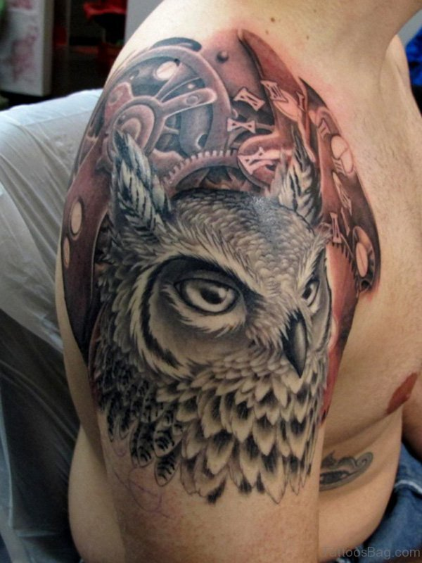 Stunning Owl Shoulder Tattoo
