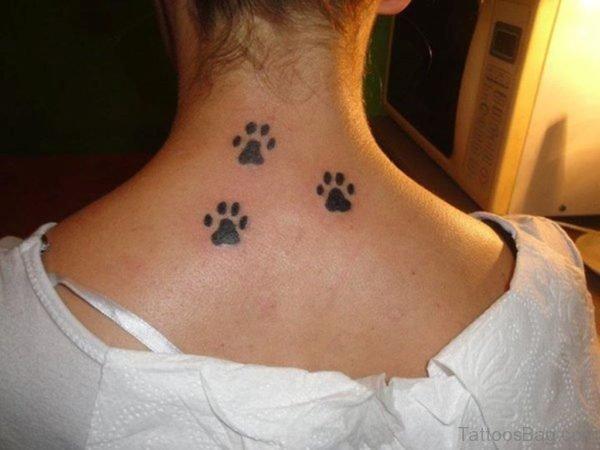 Stunning Three Paw Tattoo On Neck
