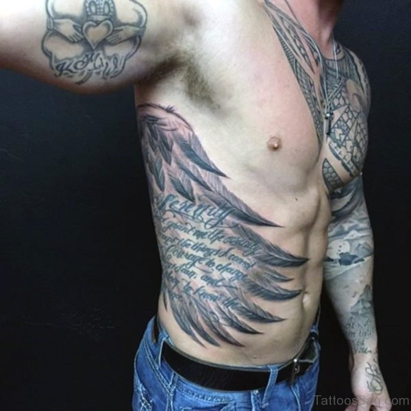 Stunning Wing And Wording Tattoo