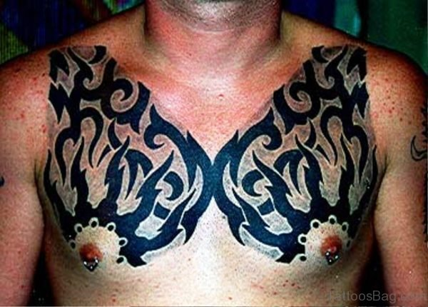 Stupendous Tribal Tattoo On Chest
