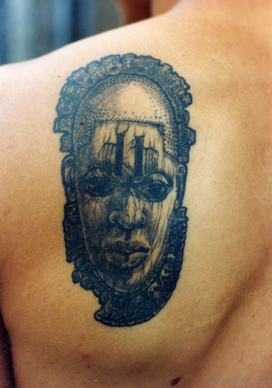 Stylish African Girl Face Tattoo On Left Back Shoulder