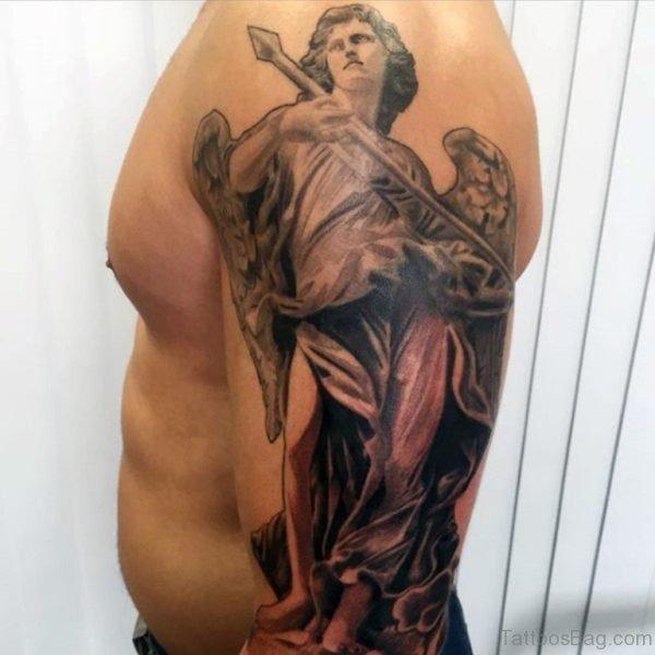 Stylish Angel Tattoo On Shoulder