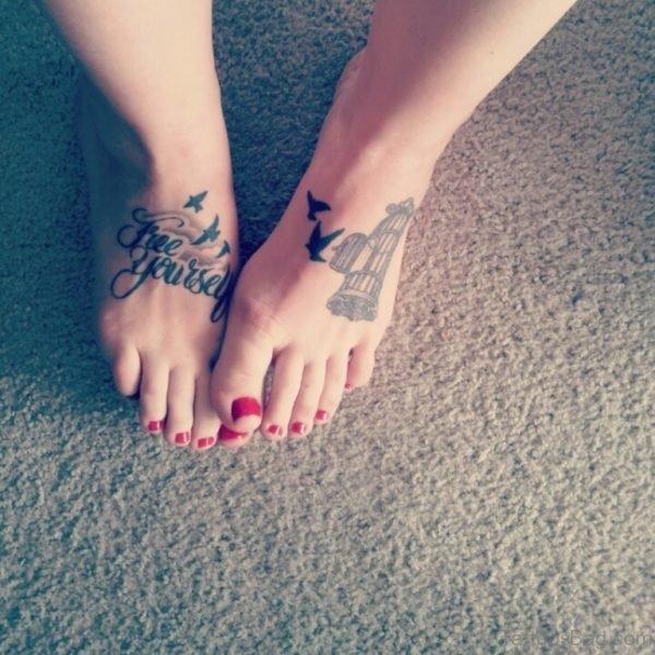 Stylish Atheist Tattoo Design On Ankle
