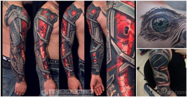 Stylish Bio Mechanical Tattoo On Full Sleeve