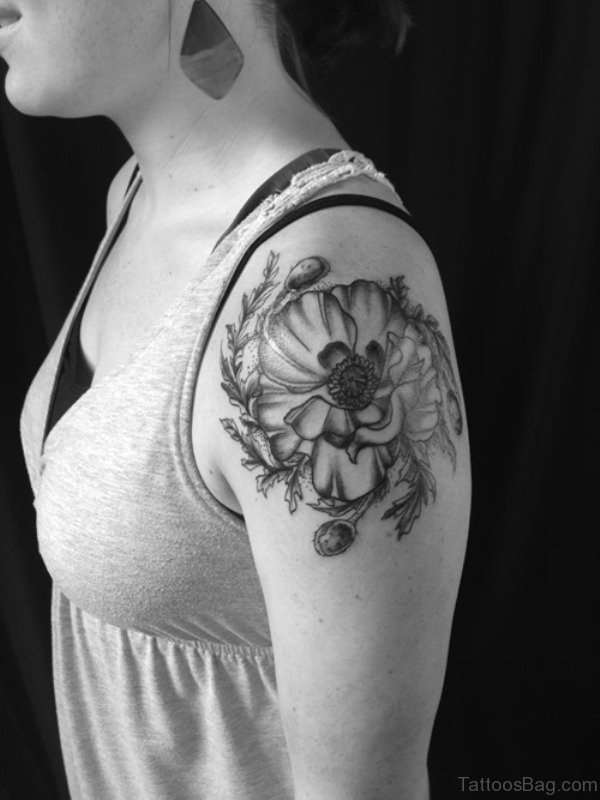 Stylish Black And White Shoulder Tattoo Design