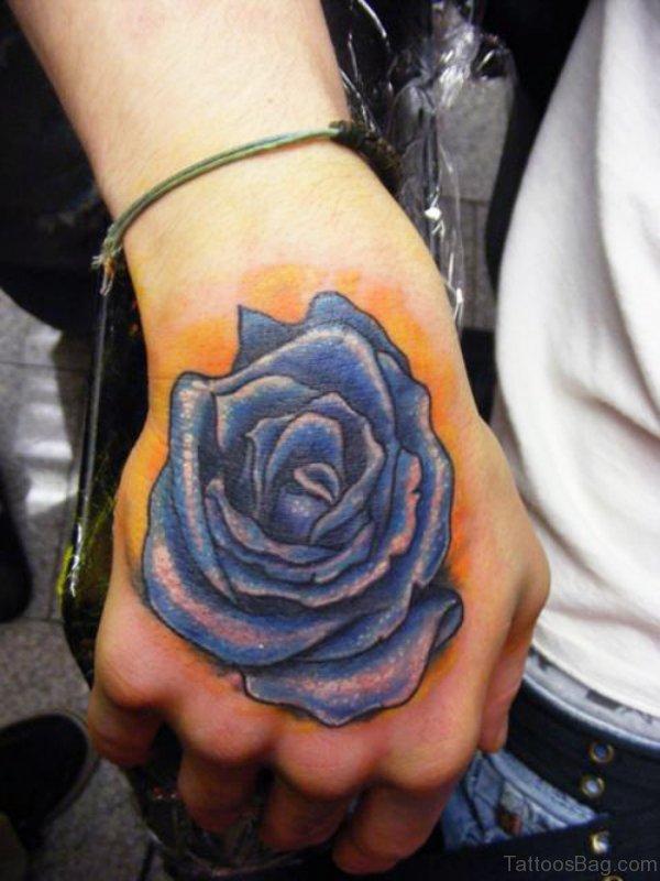 Stylish Blue Rose Tattoo On Hand