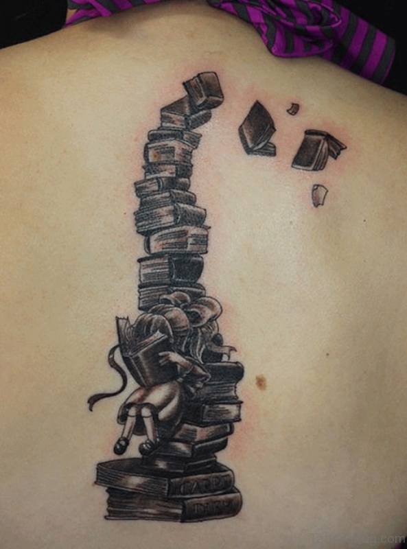Stylish Book Tattoo On Back