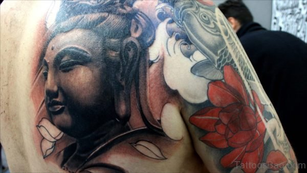 Stylish Buddhist Tattoos Design On Upper Back Shoulder