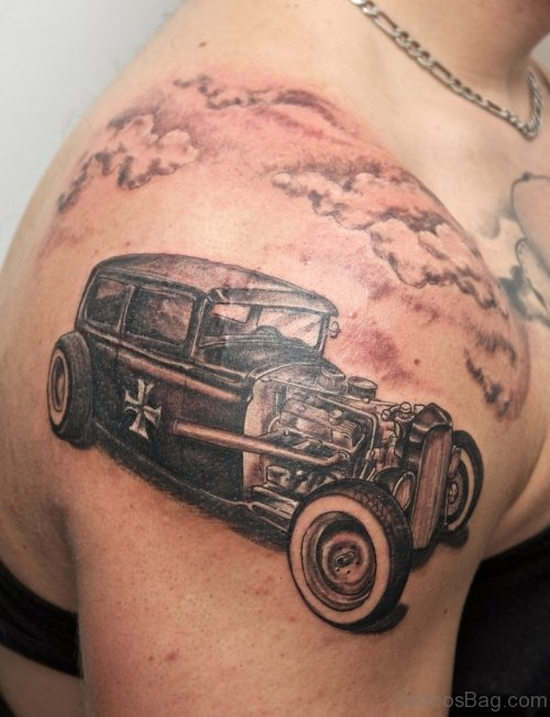Stylish Car Tattoo On Shoulder