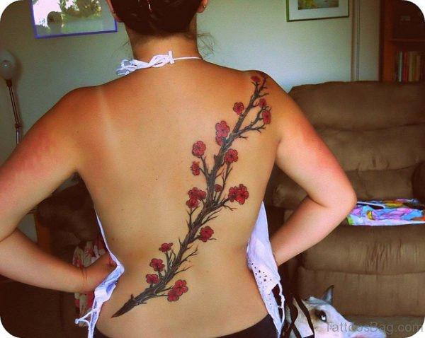 Stylish Cherry Blossom Tree On Back Body