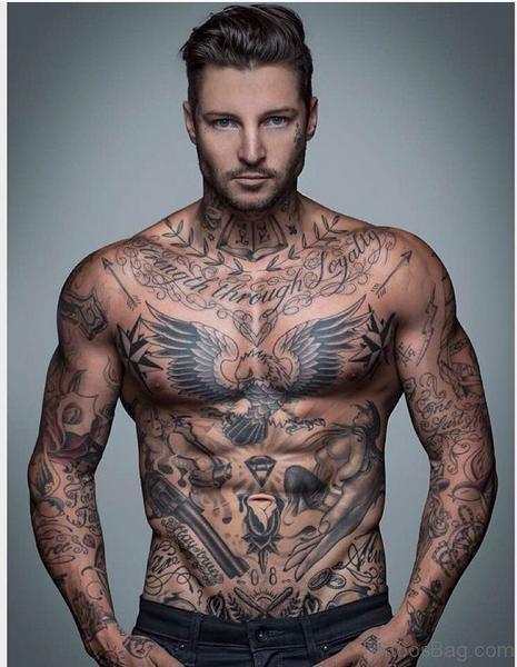 Graceful Chest Tattoo