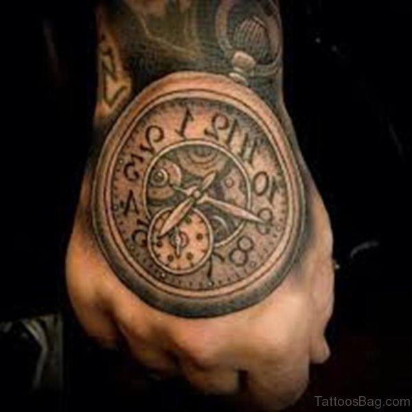 Stylish Clock Tattoo On hand