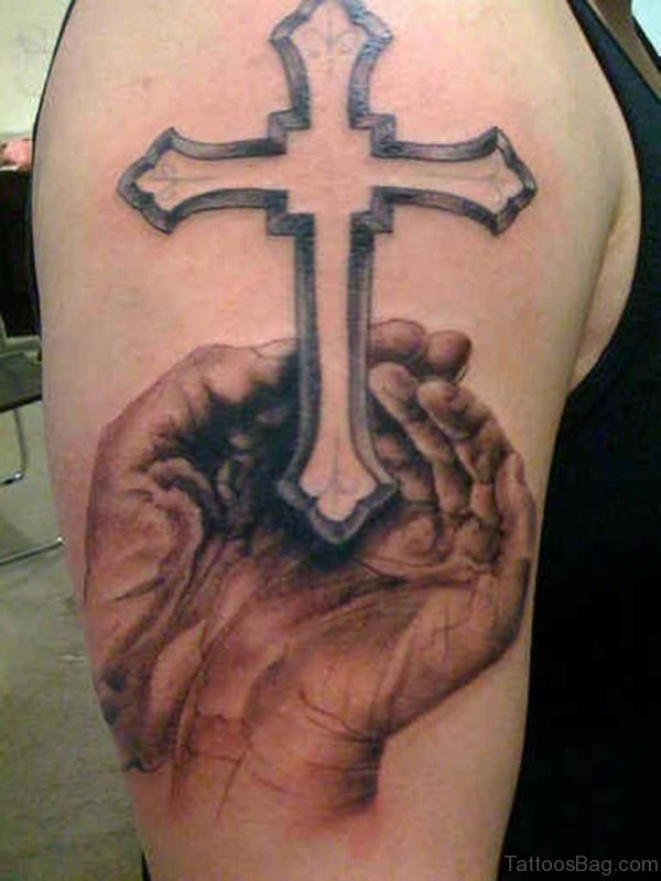 Stylish Cross Tattoo On Shoulder