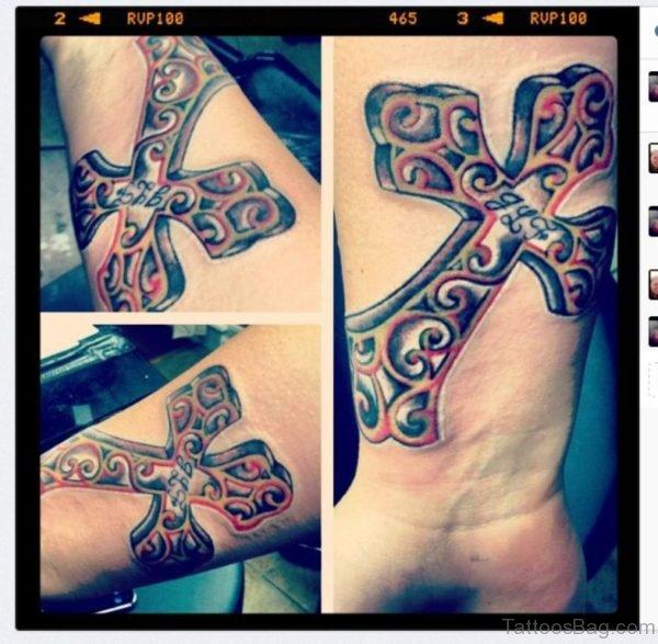 Stylish Cross Tattoo On Wrist