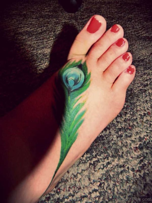 Stylish Feather Tattoo On Foot