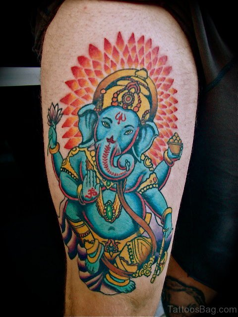 Stylish Ganesha Tattoo On Shoulder
