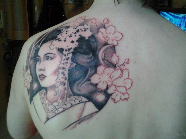 Stylish Geisha Girl Tattoo On Back