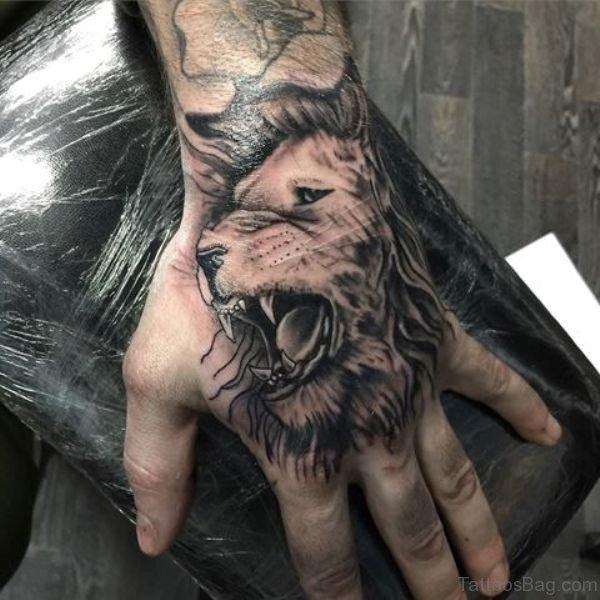 Stylish Lion Tattoo Design On Hand
