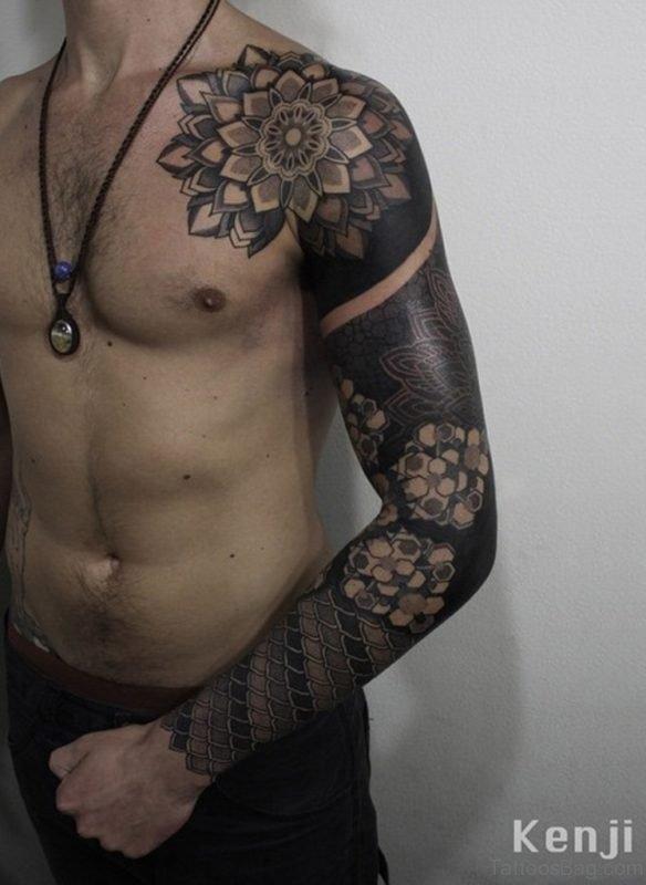 Stylish Mandala Tattoo On Full Sleeve