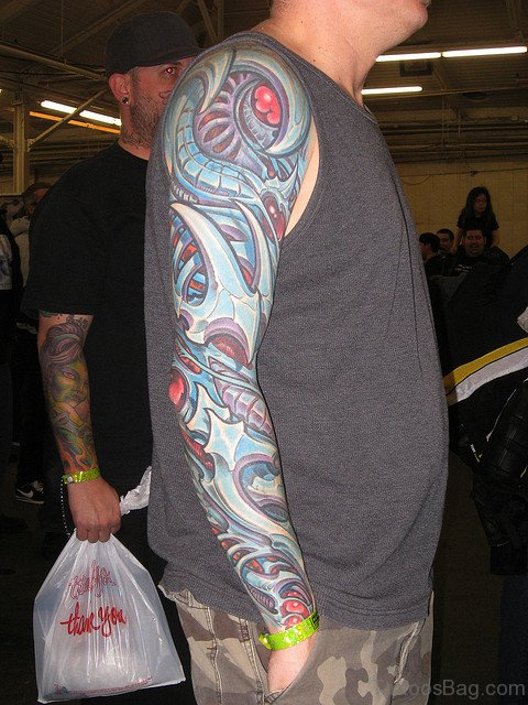 Stylish Mechanical Tattoo On Full Sleeve