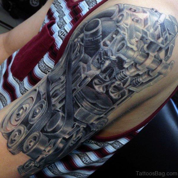Stylish Mechanical Tattoo On Shoulder