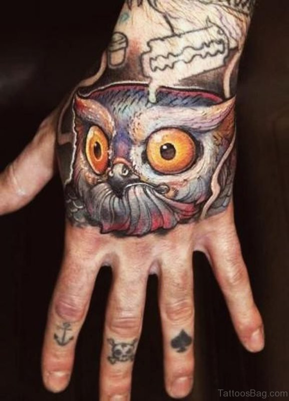 Stylish Owl Tattoo On Hand