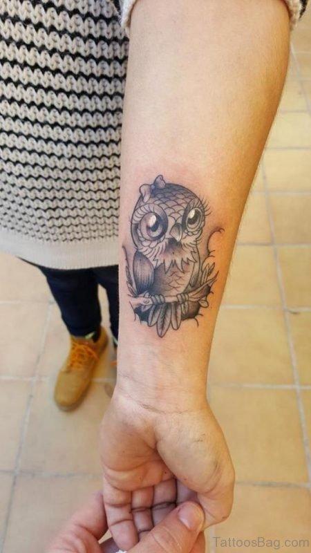 Stylish Owl Tattoo On Wrist