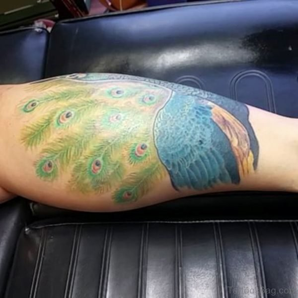 Stylish Peacock Leg Tattoo