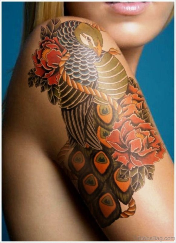 Stylish Peacock Tattoo on Shoulder