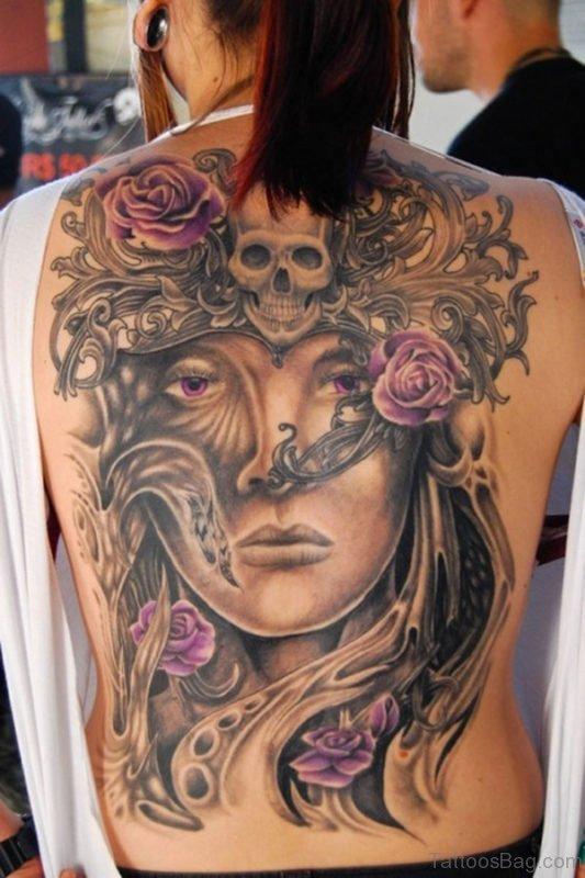Stylish Skull Tattoo On Back Body
