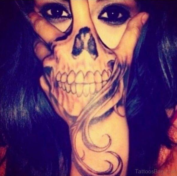 Stylish Skull Tattoo On Hand