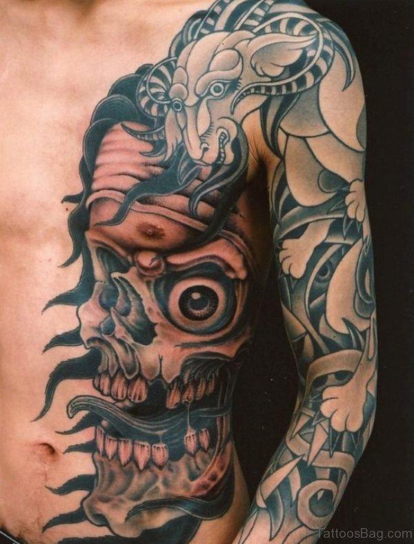 Stylish Skull Tattoo On Rib