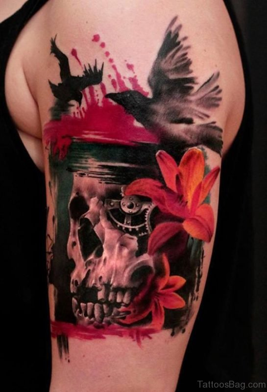 Skull Tattoo On Shoulder