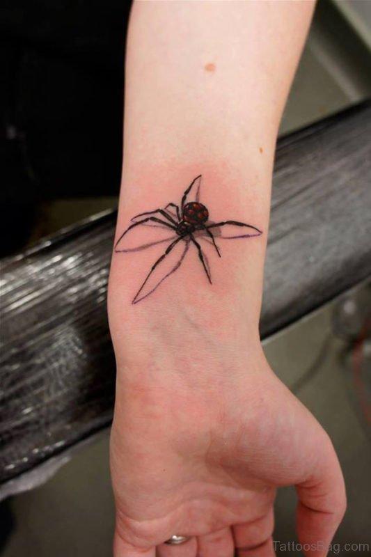 Stylish Spider Tattoo On Wrist