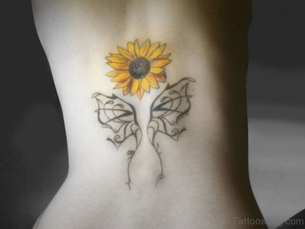 Stylish Sunflower Tattoo On Back
