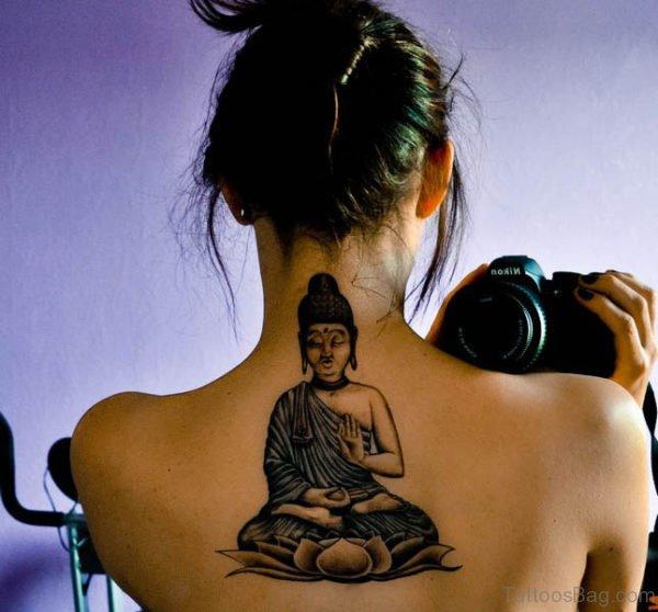 Stylish Tattoo On Upper Back