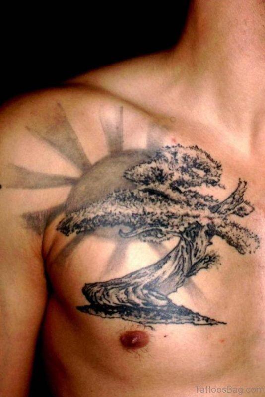 Stylish Tree Tattoo On Chest