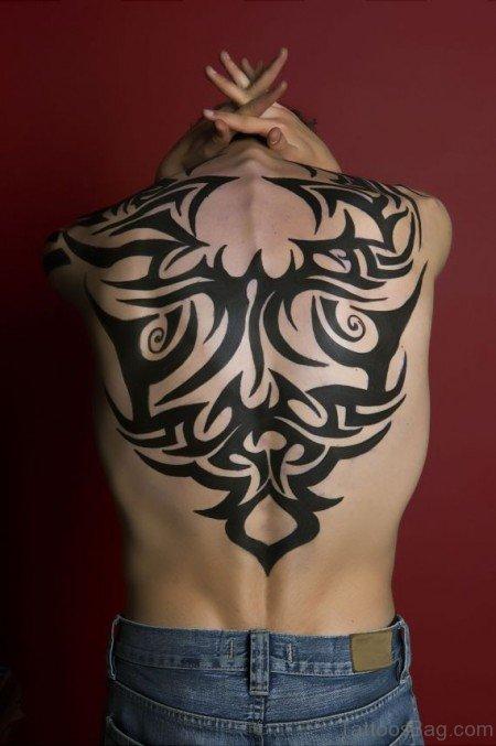 Stylish Tribal Tattoo On Back Body