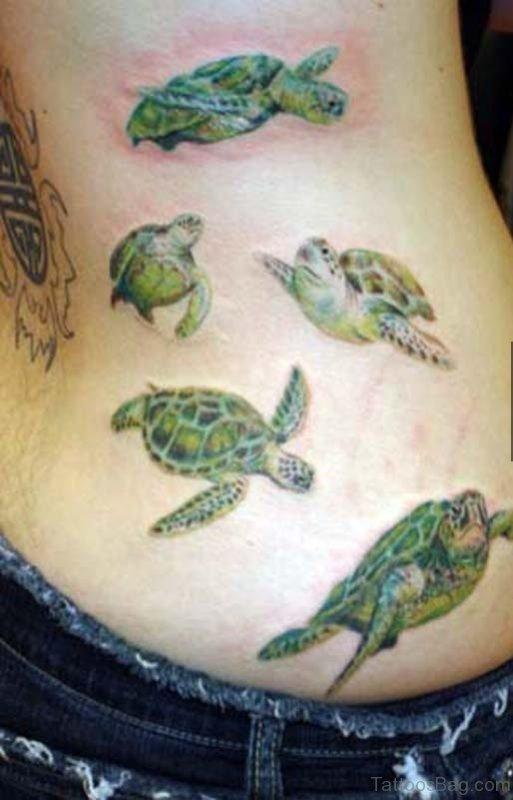 Stylish Turtle Tattoo On Rib