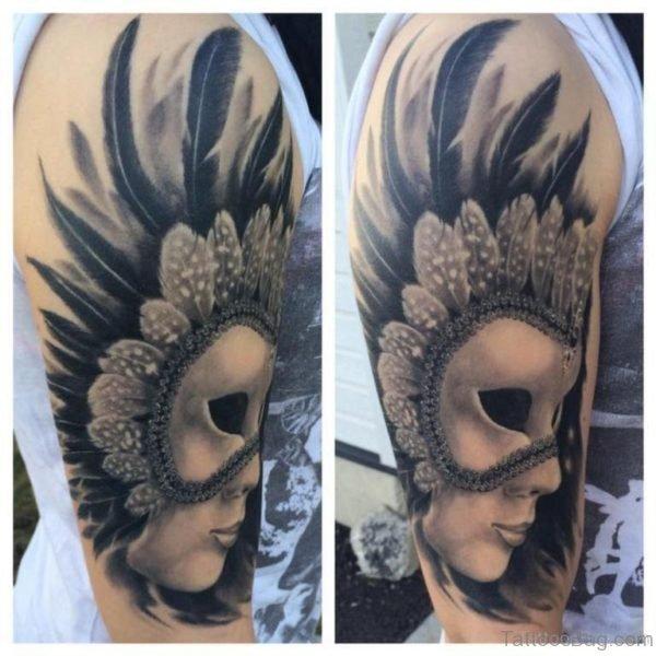 Stylish Venetian Mask Tattoo