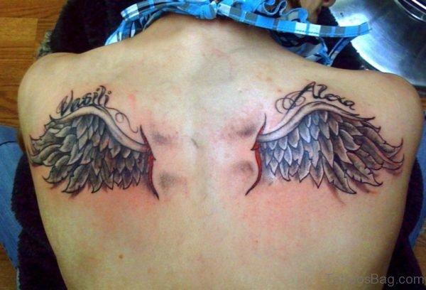 Stylish Wings Tattoo On Back