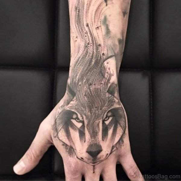 Stylish Wolf Tattoo On Hand