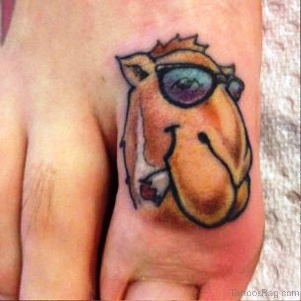 Stylished Camel Tattoo On Toe