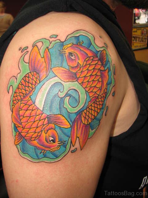 Stylsih Fish Tattoo On Shoulder