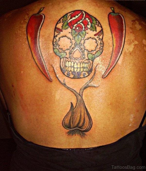 Sugar Skull Chilly and Garlic Tattoo On Upperback
