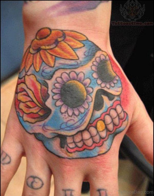 Sugar Skull Tattoo On Back Hand