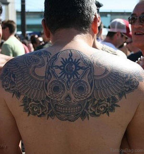 Sugar Skull Tattoo On Upper Back